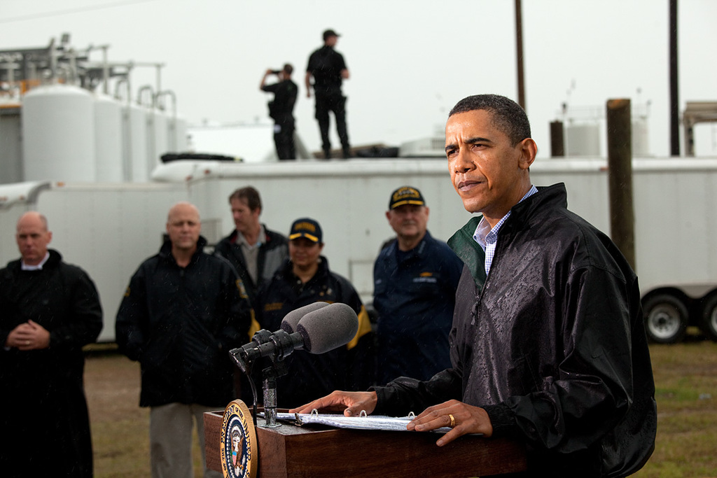 Office of Enforcement and Compliance - BP Oil Spill - President Barack Obama delivers remarks in the rain at the Coast Guard Venice Center in Venice, LA, May 2, 2010. (Official White House Photo by Pete Souza) [412-APD-820-P050210PS-0583.jpg]