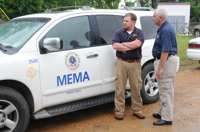 Severe Storm ^ Tornado - Lexington, Miss. , May 1, 2010 -- At the Holmes County Ebenezer fire station disaster staging area, Mississippi Emergency Management Agency Operations Officer Zac Houston and Area Field Services Coordinator Tom Taylor are present in support of Governor Haley Barbour's visit and Press Conference here this afternoon. George Armstrong/FEMA