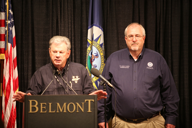 Flooding ^ Severe Storm - Nashville, Tenn. , May 6, 2010 -- General James Bassham(TEMA) and Administrator Craig Fugate(FEMA) open a press conference at Belmont University with other state and local partners to update the media and the public on disaster progress.  FEMA is responding to severe storms and flooding that damaged or destroyed thousands of homes across Tennessee in May 2010.