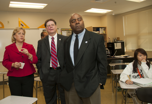 Hurricane/Tropical Storm ^ Severe Storm - Slidell, La. , August 25, 2010 --Tony Russell, FEMA's Region 6 Administrator(l) along with Senator Mary Landrieu,D-LA and Trey Folse, St. Tammany's Superintendent of Schools, listen to a math lesson in one of the new Salmen High School classrooms. FEMA provided funding for the rebuild school.  Photo by Patsy Lynch/FEMA
