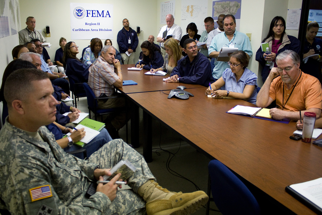 Hurricane/Tropical Storm - San Juan, Puerto Rico, August 30, 2010 -- All Hands Meeting at the Caribbean Area Division.  The CAD staff was ready to provide support to the Puerto Rico Emergency Management Agency during Hurricane Earl.  Photo by Yuisa Rios/FEMA