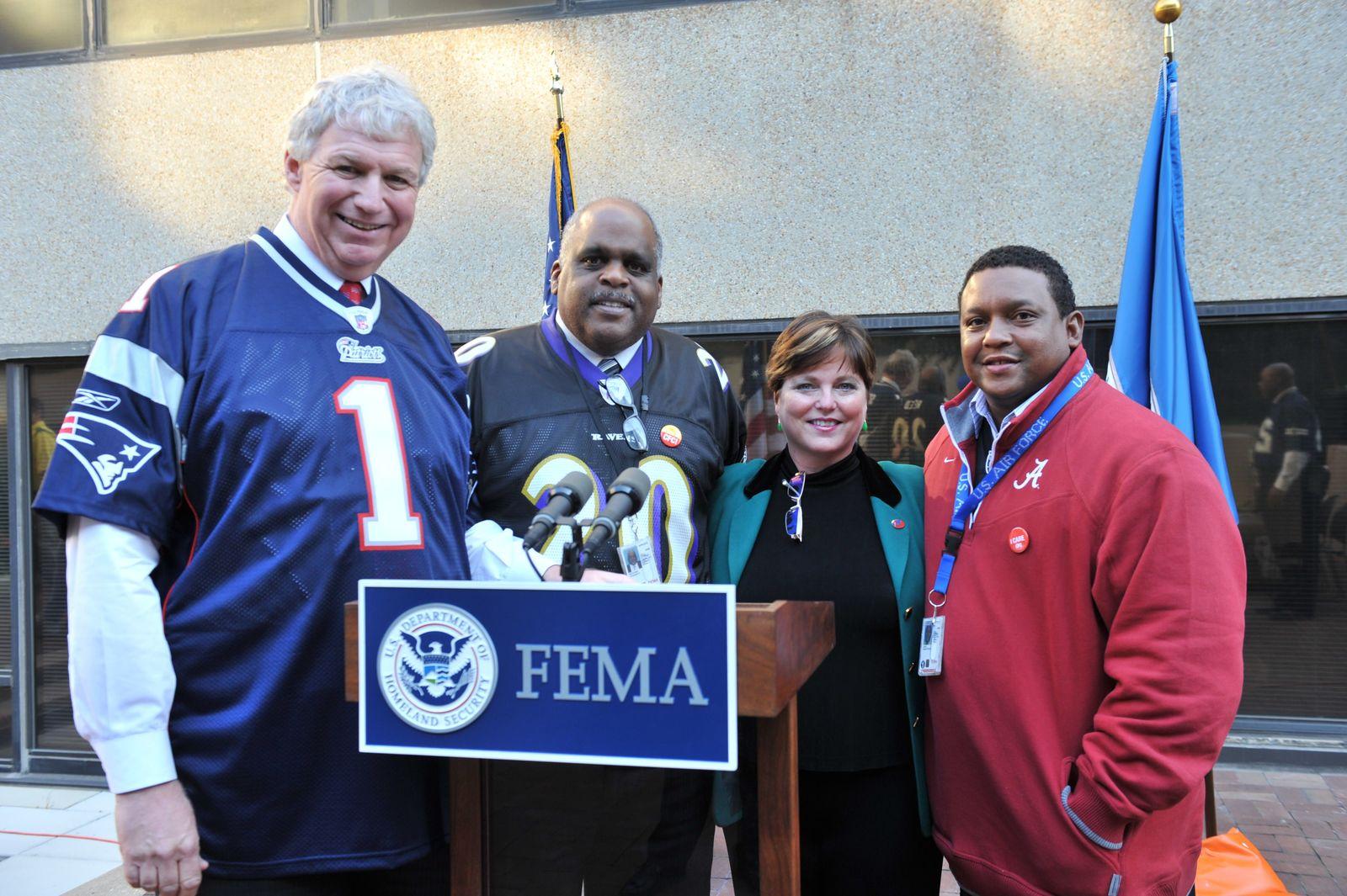 Washington, D. C. , November 9, 2010 -- From left to right: FEMA Deputy Administrator Richard Serino; Steward Beckham, CFC-NCA Campaign Executive; Leigh Trocine, CFCNCA Executive and Christopher Jones gather together at the conclusion of the CFC kick-off event. FEMA/Aaron Skolnik