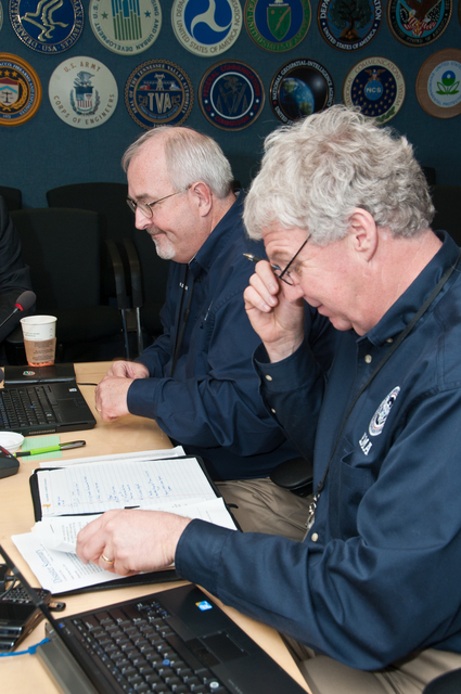 Winter Storm - Washington, D. C. , February 1, 2011 -- FEMA Administrator Craig Fugate (left) and Deputy Administrator Rich Serino, joined via telephone by DHS Secretary Janet Napolitano,  brief President Obama via teleconference on the winter storm that is affecting a large portion of the country. FEMA/Aaron Skolnik