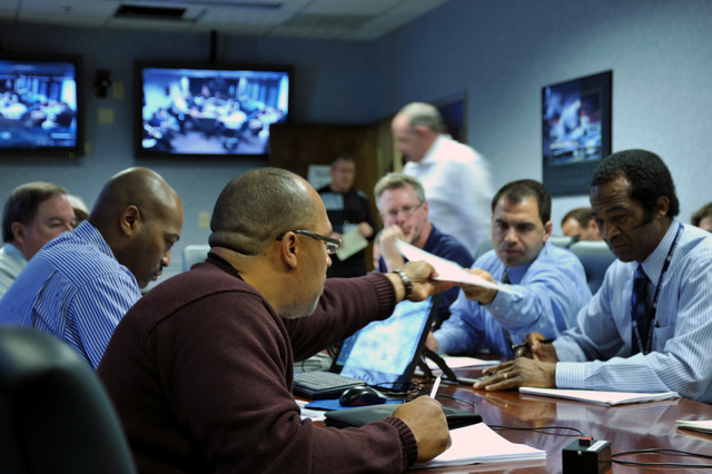 """Earthquake ^ Emergency Planning and Security - Atlanta, Ga. , March 8, 2011 -- Region IV leadership answer questions from state partners during a no notice """"thunderbolt exercise,"""" simulating a 7. 7 earthquake along the New Madrid fault line."""