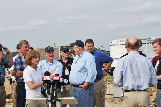 Tornado - Smithville, Miss. , May 1, 2011 --  FEMA Administrator Craig Fugate talks with Senator Roger Wicker of Mississippi before a press conference in hard-hit Smithville MS. with DHS Secretary Janet Napolitano. Red Cross President Gail McGovern is also pictured. FEMA photo / Tim Burkitt
