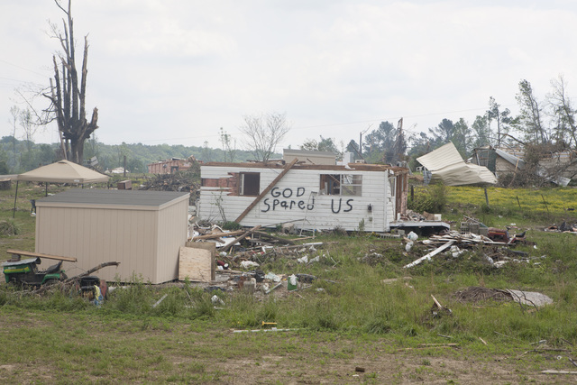 Severe Storm ^ Tornado - Chattanooga, Tenn. , May 8, 2011 -- Chattanooga, TN, May 8, 2011  - A mobile home near Chattanooga, Tennessee shows the owners' sentiments. FEMA supports the extensive volunteer work Tennessee citizens provide to its citizens. Photo by Ed Edahl/FEMA.