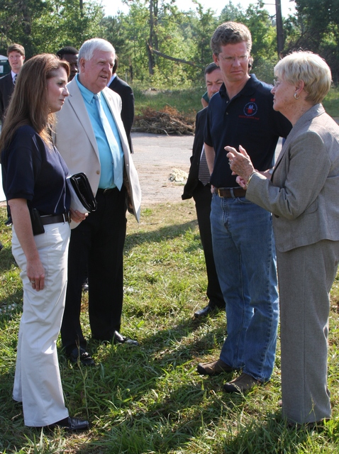 Tornado - Griffin, Ga. , May 10, 2011 -- Griffin Mayor Joanne Todd (Right) explains the problems her community is facing with (Left to Right) FEMA Federal Coordinating Officer Gracia Szczech; Spalding County Commissioner Chairman, Eddie L. Freeman; and Secretary of the Department of Housing and Urban Development, Shaun Donovan, during a visit to the Ponderosa Mobile Home Park.  The area was hard hit by a tornado on April 27, 2011.  Judith Grafe/FEMA Photo