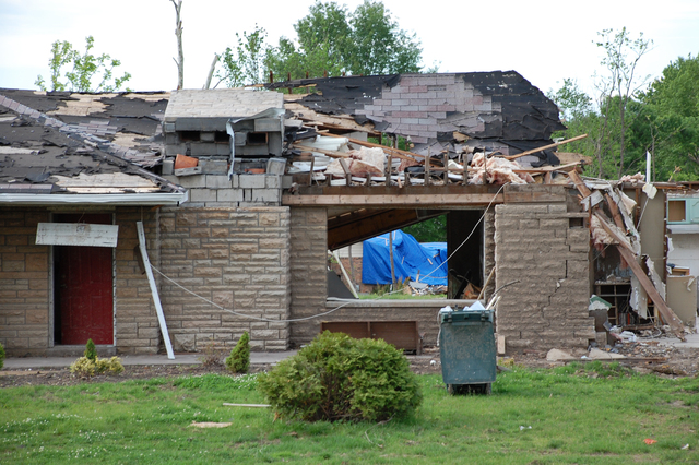 Tornado - Bridgeton, Mo. , May 18, 2011 -- Almost a month after an F4 tornado hit the area homes show the effect of the full force of the storm. Old St. Charles Road in Bridgeton - where these homes are located - was one of the hardest hit areas. FEMA is in Missouri assisting with the rebuilding.  Jace Anderson/FEMA