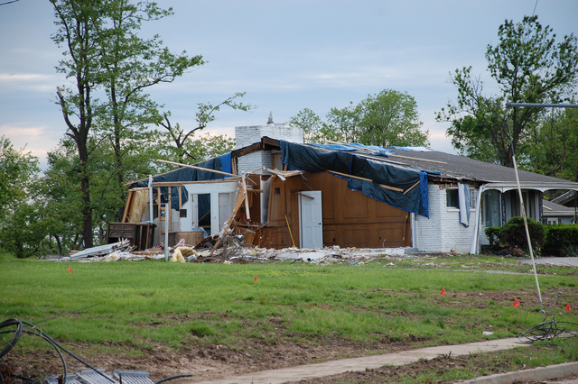 Tornado - Bridgeton, Mo. , May 18, 2011 --  This home located on Old St. Charles Road in Bridgeton was among the hardest hit during the Good Friday tornado. A Disaster Recovery Center is located in the area to assist survivors with registering for assistance.  Jace Anderson/FEMA