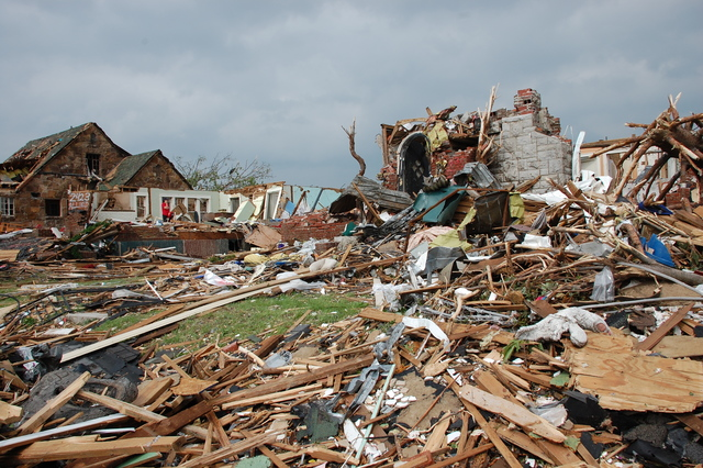 Tornado - Joplin, Mo. , May 24, 2011 -- Homes were leveled with the force of 200 mph winds as a F5 tornado struck the city the night of May 22, 2011. FEMA is coordinating the effort to help the survivors and the community.  Jace Anderson/FEMA