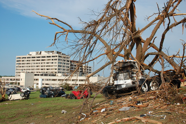 Tornado - Joplin, Mo. , May 24, 2011 -- St. John's Regional Medical Center is a total loss folowing the May 22nd EF-5 tornado that struck the city. FEMA is in the city to administer assistance to the survivors.  Jace Anderson/FEMA