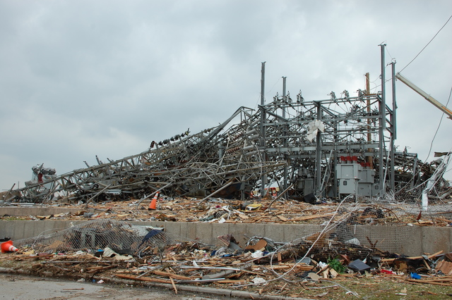 Tornado - Joplin, Mo. , May 24, 2011 -- This substation was in the path of 200 mph winds the night of May 22, 2011.  FEMA's Public Assistance works closely with communitiesw following disasters such as this.  Jace Anderson/FEMA