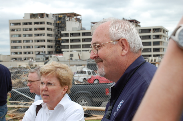 Tornado - Joplin, Mo. , May 26, 2011 -- U. S. Department of Homeland Security Deputy Secretary Jane Holl Lute and Federal Emergency Management Agency Administrator Craig Fugate listen to first responders describe events surrounding Sunday evening's tornado in Joplin.