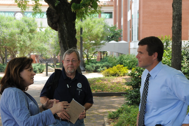 Tornado - Tuscaloosa, Ala. , June 2, 2011 -- FEMA's Annette Foglino and Tim Tyson prepare to interview Tuscaloosa Mayor Walter Maddox. His government had recently attended the Emergency Management Institute (EMI) which serves as the national focal point for the development and delivery of emergency management training to enhance the capabilities of state and local officials to minimize the impact of disasters.  FEMA photo/Tim Burkitt