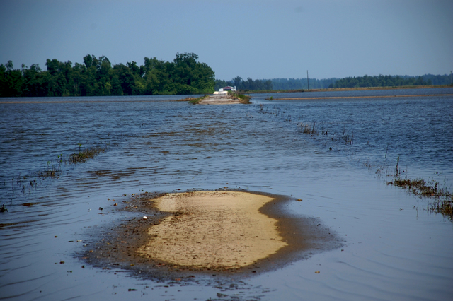 Flooding - Birds Point, Mo. , June 5, 2011 -- Waters from the Birds Point levee are receding, but some roads are still impassable in rural Mississippi County, MO. Some fields, according to a local farmer, may be ready for planting in as little as a week. FEMA is coordinating assistance for those affected.  Jace Anderson/FEMA