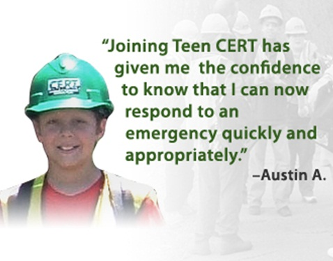 Emergency Planning and Security - June 20, 2011 -- Austin A. , a member of Teen CERT, explains why the experience has been so valuable to him.