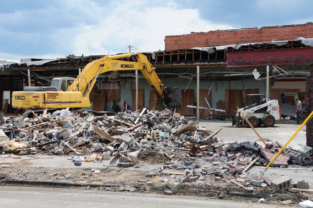 Tornado - Cullman, Ala. , June 21, 2011 -- The demolition and cleanup of debris is seen here in historic downtown Cullman as the town starts to rebuild. Many old brick buildings collapsed during the April 27th tornado.  FEMA photo/Tim Burkitt