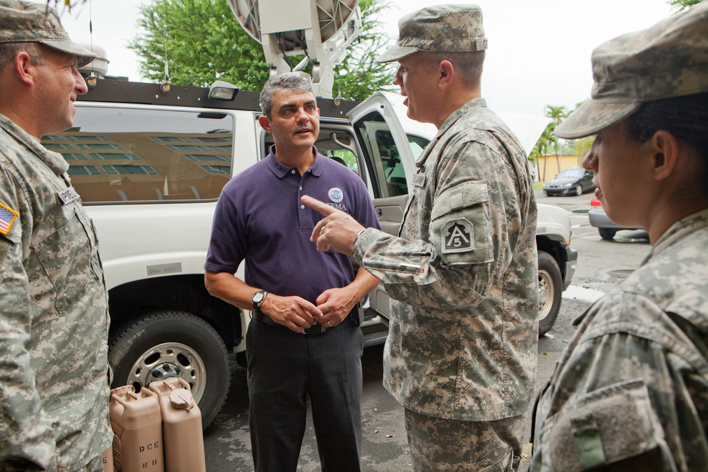 Flooding ^ Mudslide/Landslide - San Juan, Puerto Rico, July 3, 2011 -- U. S. Army officials demonstate the capabilities of a new Department of Defense emergency response vehicle to Caribbean Area Division Director, Alex de la Campa.  The vehicles will be stationed in Puerto Rico and the Virgin Islands during the upcoming hurricane season.  Andrea Booher/FEMA
