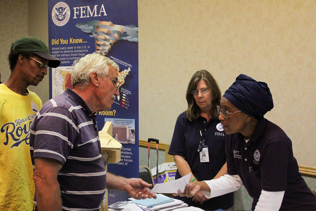 Severe Storm ^ Tornado - Joplin, Mo. , July 8, 2011 -- FEMA Community Relations staff give information to business owners during the Business Expo. Photo by Rossyveth Rey-Berrios/FEMA