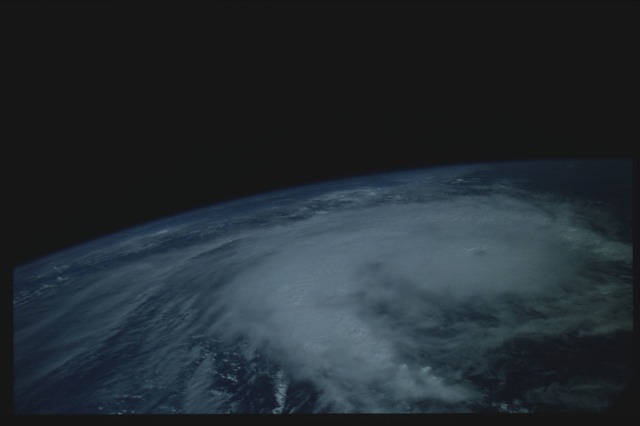 41C-06-215 - STS-41C - Hurricane Kamysi in the Indian Ocean as seen from STS-41C