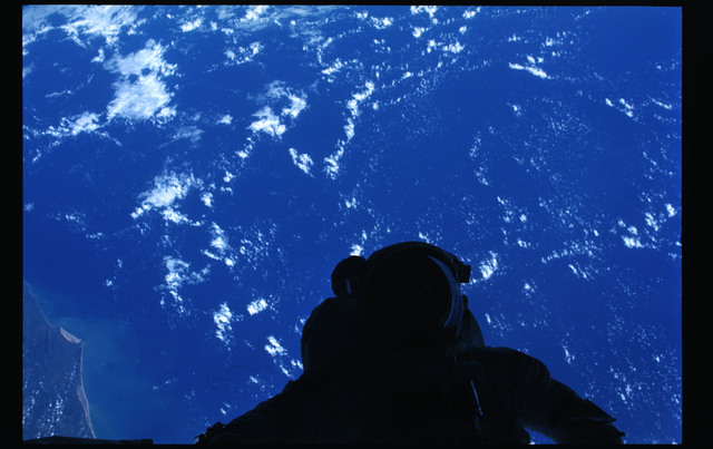 41G-101-029 - STS-41G - Astronaut in EMU in the payload bay