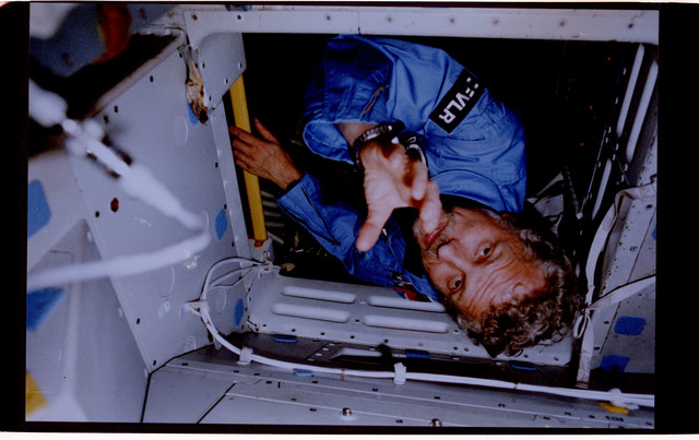 61A-125-001 - STS-61A - PS Reinhard Furrer in Spacelab-D