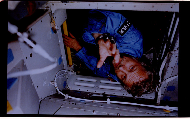 61A-125-004 - STS-61A - PS Reinhard Furrer in Spacelab-D