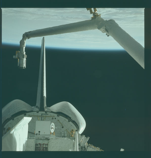 S02-12-834 - STS-002 - View of RMS and OSTA-1 experiments in Columbia's payload bay