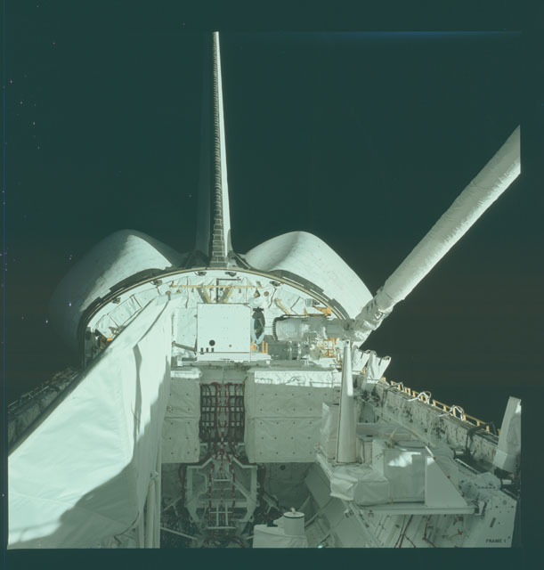 S02-12-841 - STS-002 - View of RMS and OSTA-1 experiments in Columbia's payload bay
