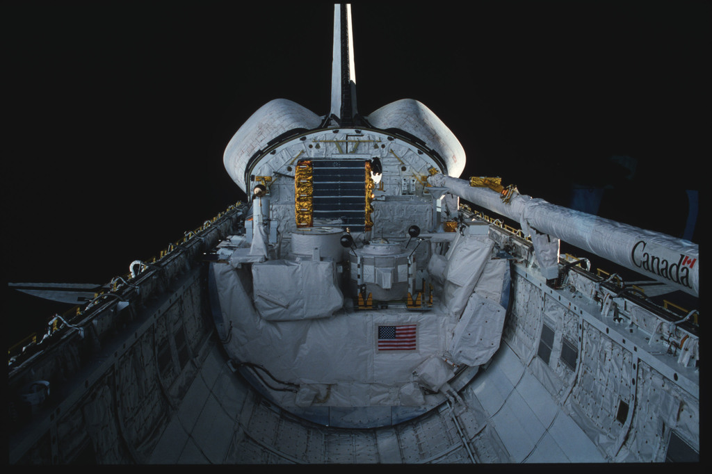 S03-19-012 - STS-003 - Overall view of payload bay taken from the aft flight deck viewing windows