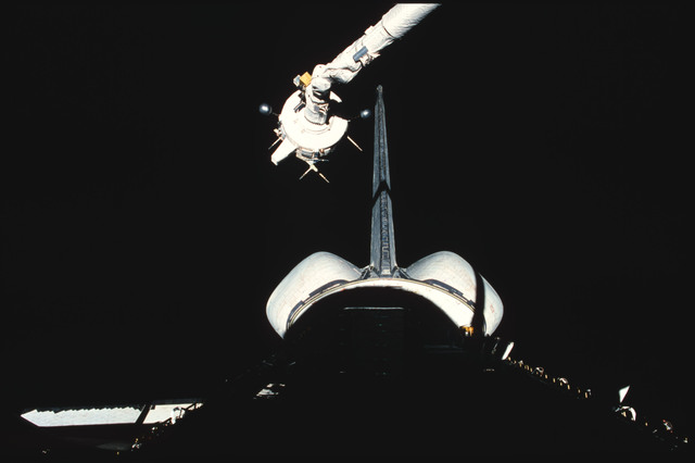 S03-21-107 - STS-003 - PDP grappled by RMS is maneuvered above payload bay then restowed on pallet