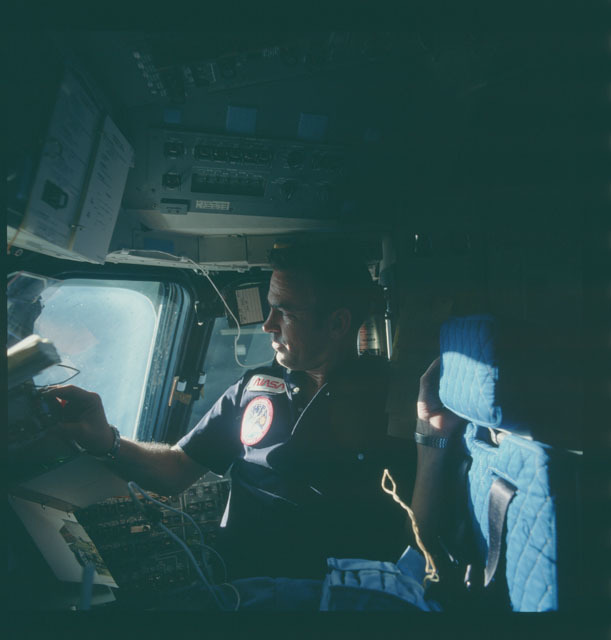 S07-05-278 - STS-007 - STS-7 crew on aft flight deck during proximity operations