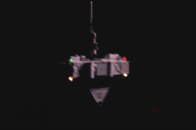 S07-25-1401 - STS-007 - Shuttle Pallet Satellite (SPAS) 01 drifts in space after RMS release