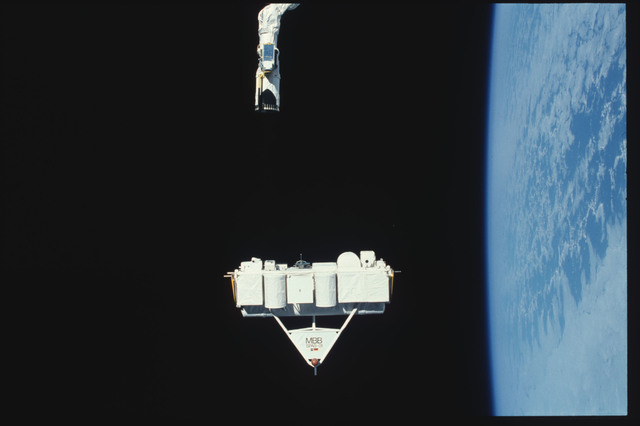 S07-25-1420 - STS-007 - Shuttle Pallet Satellite (SPAS) 01 released by RMS end effector