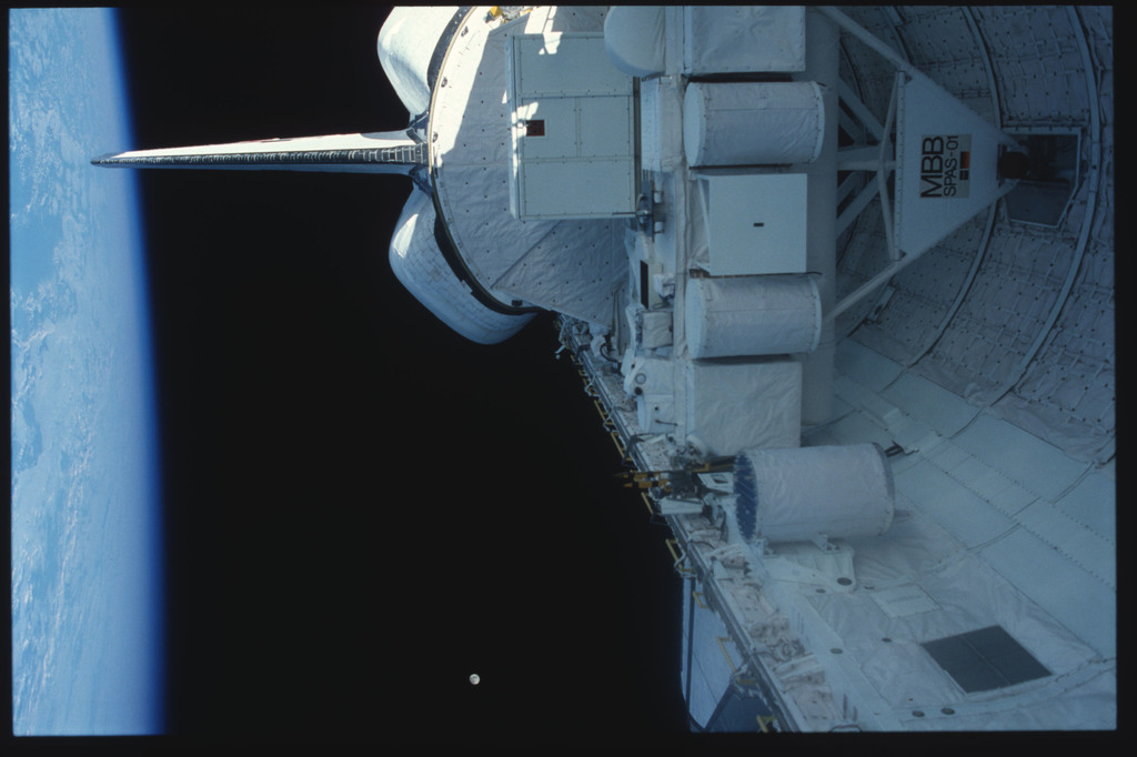 S07-30-1593 - STS-007 - PLB - SPAS-01,OSTA-2,stowed RMS,OMS pods,vertical tail,Earth's surface