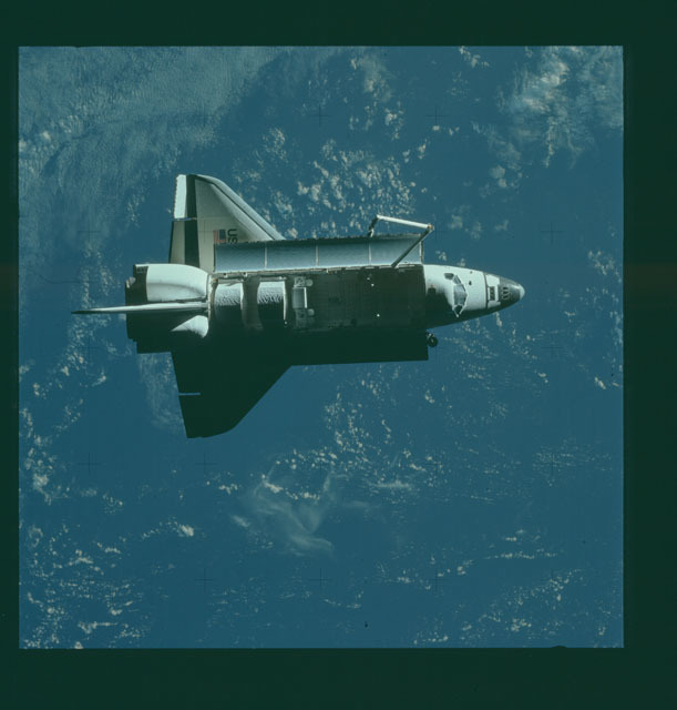 S07-32-1641 - STS-007 - View of the shuttle Challenger from the SPAS-01 satellite