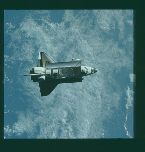 S07-32-1653 - STS-007 - View of the shuttle Challenger from the SPAS-01 satellite
