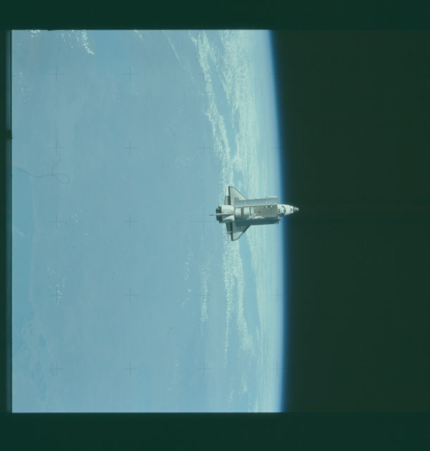 S07-32-1691 - STS-007 - View of the shuttle Challenger from the SPAS-01 satellite
