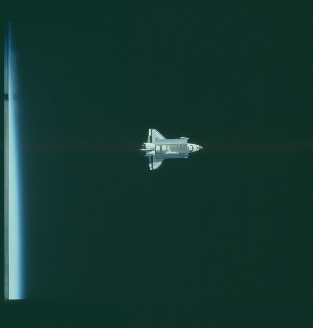 S07-32-1704 - STS-007 - View of the shuttle Challenger from the SPAS-01 satellite