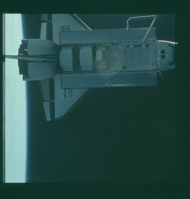 S07-32-1732 - STS-007 - View of the shuttle Challenger from the SPAS-01 satellite