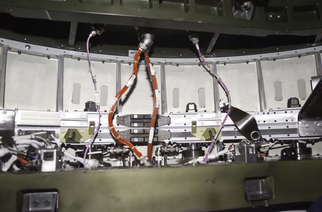 S104E5099 - STS-104 - Electrical wiring and connections from Quest airlock to Node 1