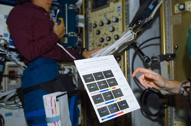 S107E05158 - STS-107 - STS-107 crewmember's hand beside a one page guideline for the LSP experiment
