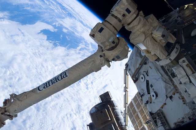 S111E5175 - STS-111 - View of the MBS during STS-111 UF-2 installation OPS on the ISS truss structure