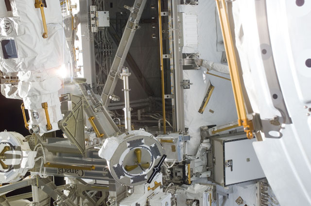 S111E5608 - STS-111 - MBS on the S0 truss with POA prominent taken during STS-111 UF-2