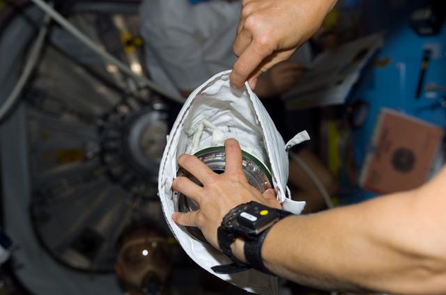 S112E05484 - STS-112 - Torn loop on EMU glove