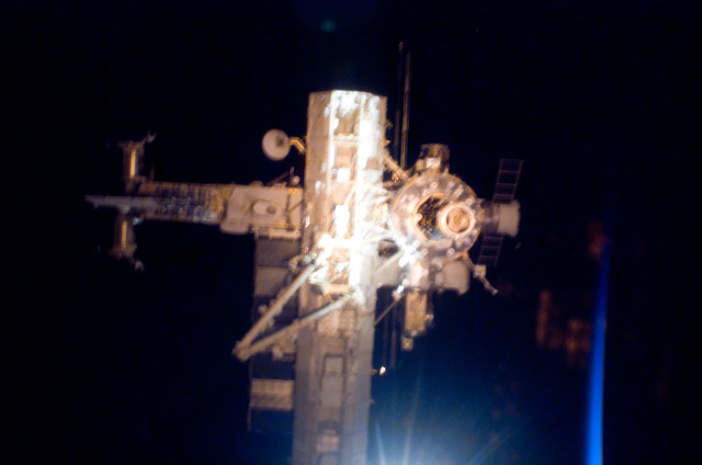 S112E05785 - STS-112 - Flyaround view of ISS forward side