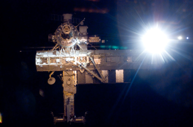 S112E05788 - STS-112 - Flyaround view of ISS forward side