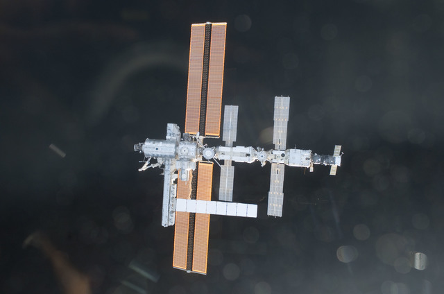 S112E05844 - STS-112 - Flyaround view of ISS nadir sides