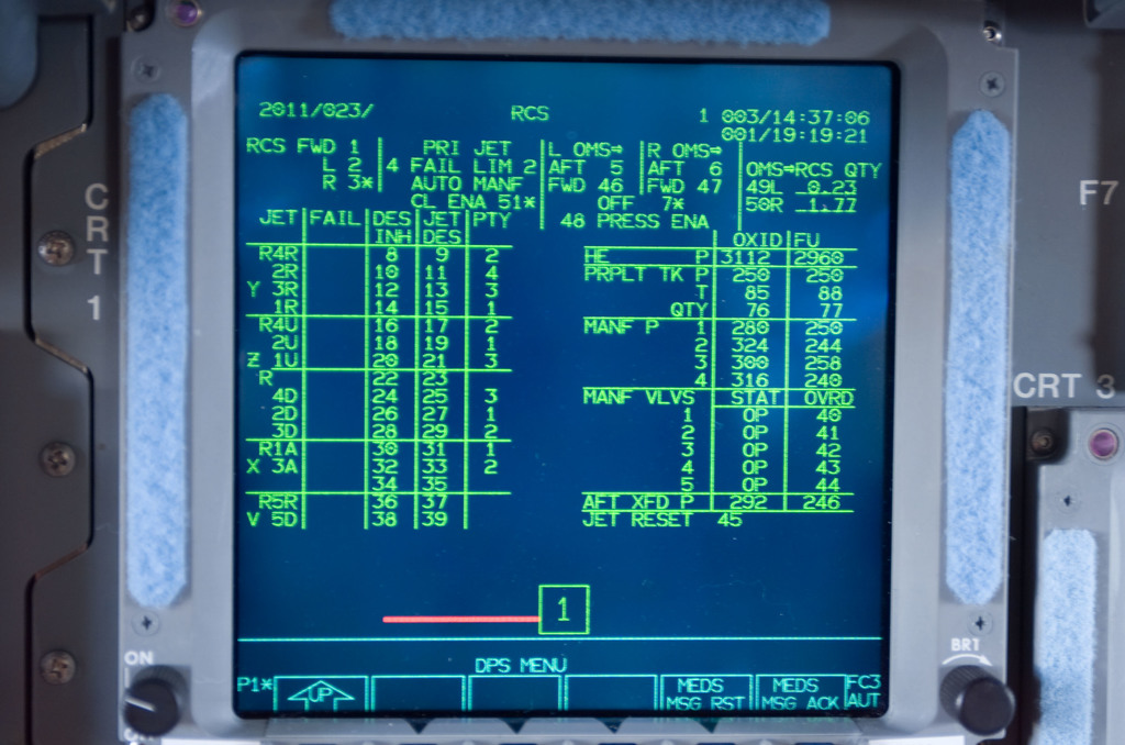 S114E6036 - STS-114 - CRT 1 screen displace