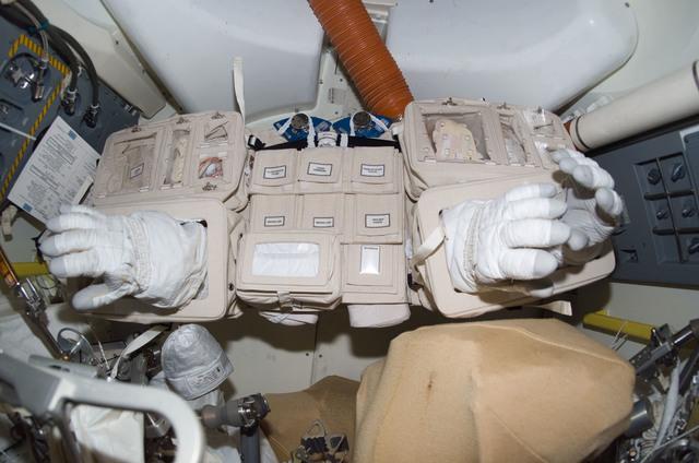 S114E6995 - STS-114 - EMU gloves in airlock